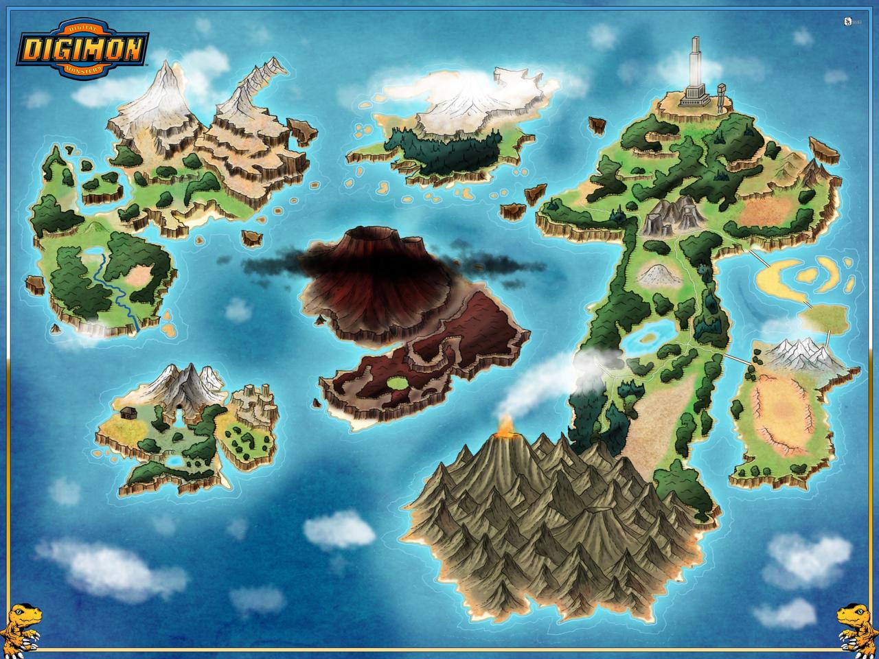 Digimon World Map -- Commission