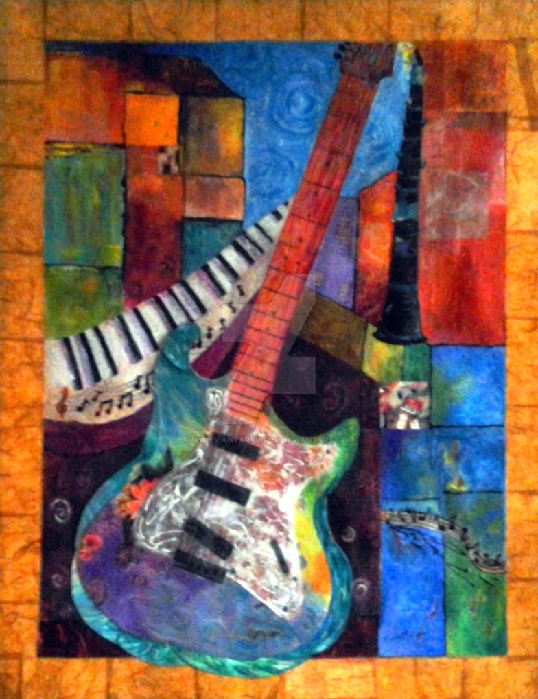 abstract electric guitar mixed media painting by mydeviantartwork on deviantart. Black Bedroom Furniture Sets. Home Design Ideas