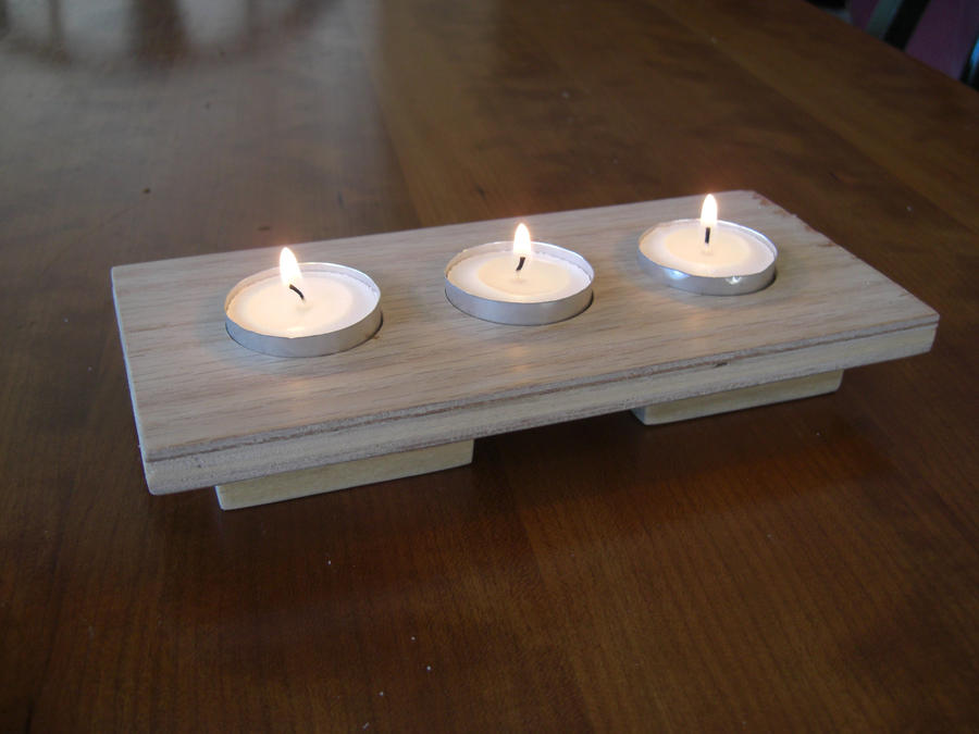 Wooden candle holder by scottywojo on deviantart for Homemade candle holders