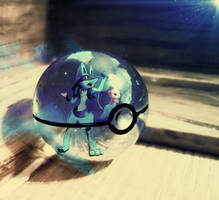 Mew and Lucario into pokeball by Jonathanjo