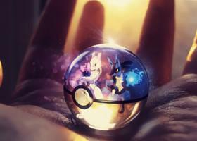 Lucario and Mewtwo Pokeball by Jonathanjo