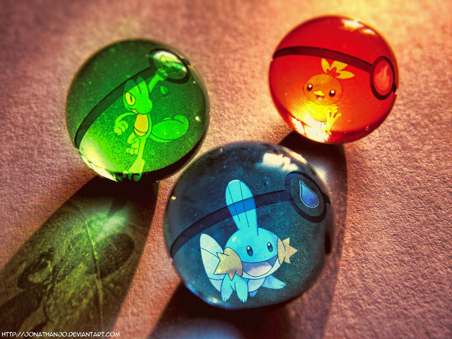 Pokeballs of 3rd generation starters by Jonathanjo