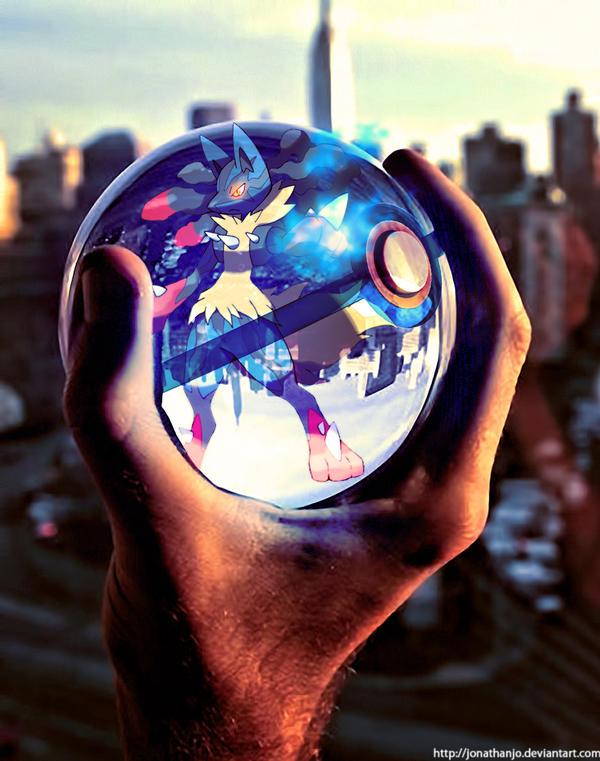 Mega Lucario In A Pokeball By Jonathanjo