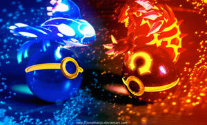 Pokeballs of Omega Ruby and Alpha Sapphire