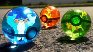 The Pokeballs of Hoenn Mega Starters