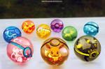 The pokeballs of Eevee and Eeveelutions