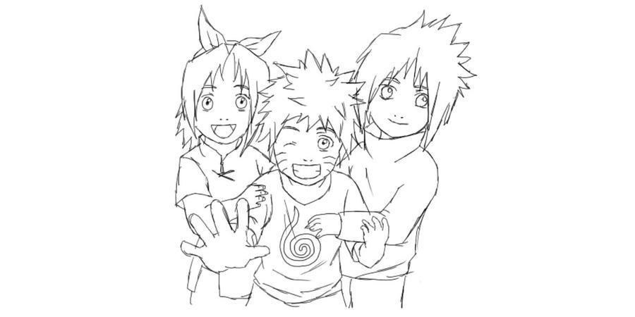 how to draw naruto sasuke and sakura