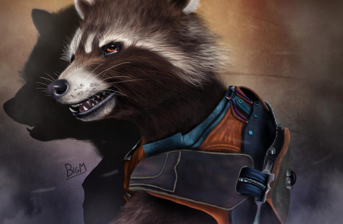 Rocket Raccoon - digital drawing (2) by BiigM