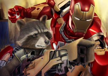 Rocket Raccoon and Iron Man - Digital drawing by BiigM
