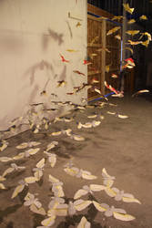 Paper Scarab Installation by insanellamagirl