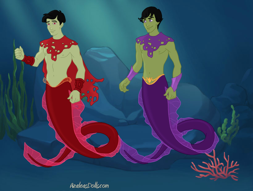Tallest Red And Purple merman by titanicdragon