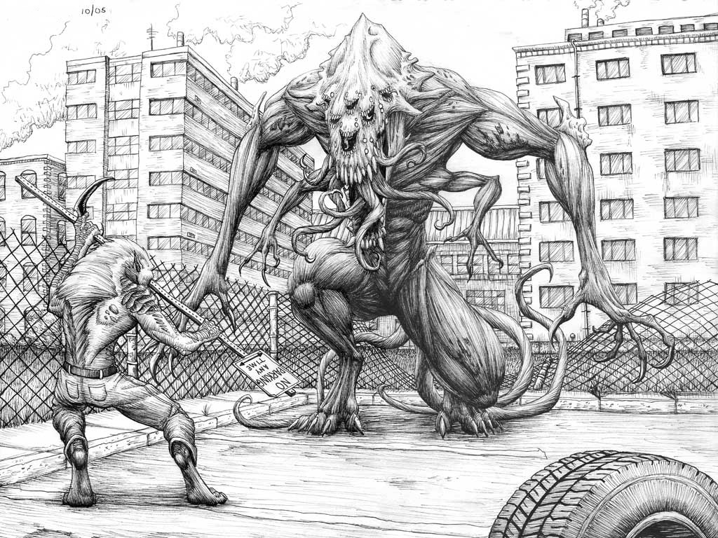 Downtown Fight: Final Inks by turbofanatic