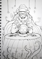Inktober x 31 Witches Day 6 - Oracle Witch