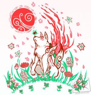 Okami Art - Wolf Blossom Breeze