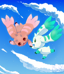 Lopmon and Terriermon in the sky