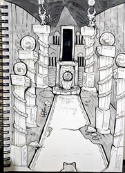 Belated Inktober Day 8 - Hall of Deities by SarahRichford