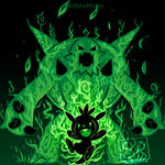 The Grass Knight Within - Chespin and Chesnaught by SarahRichford