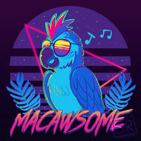 Macawsome - Macaw Pun TechraNova design by SarahRichford