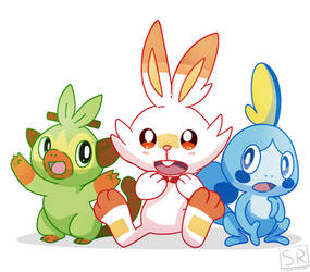 Pokemon Sword and Shield Starters by SarahRichford