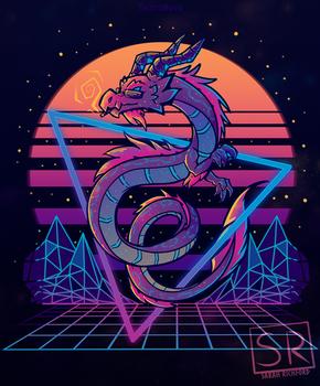 RetroWave Dragon Art - TechraNova