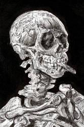 Skull with a Burning Cigarette in Ink by StevenJSBowcott