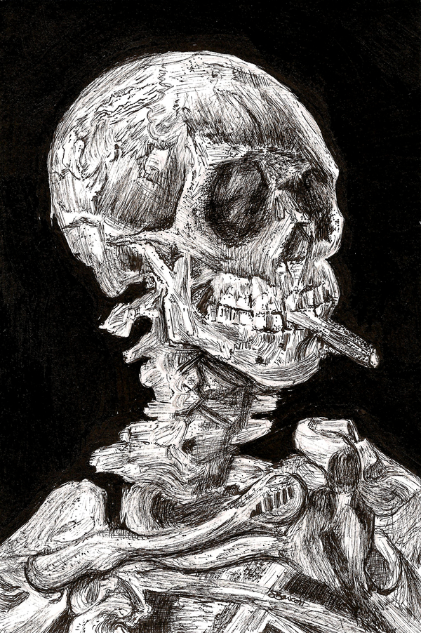 Skull with a Burning Cigarette in Ink by StevenJSBowcott