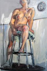 Figure Seated on Green Towel