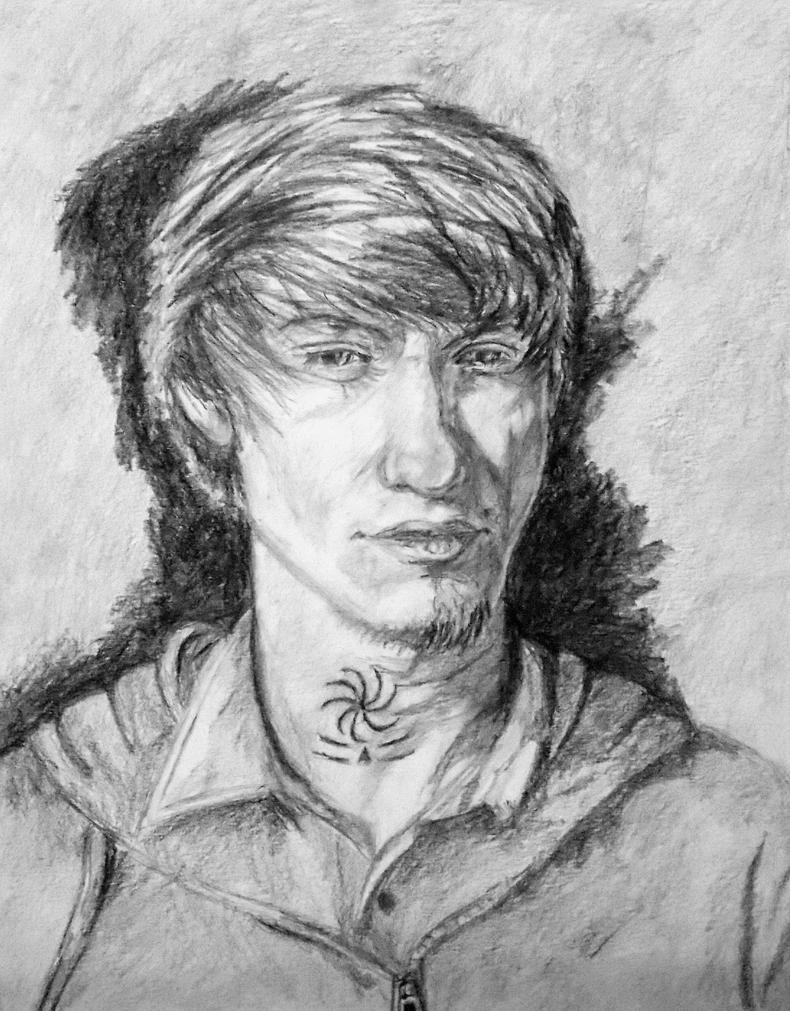 self portrait graphite by Jarredsart
