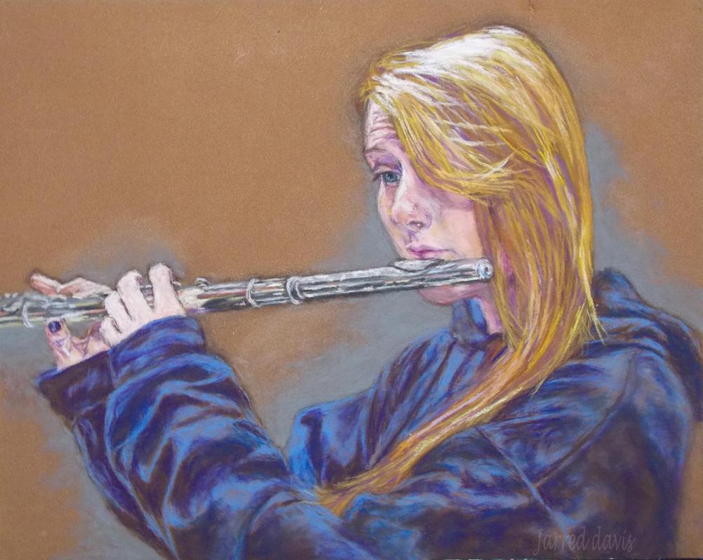Savannah playing flute- pastel by Jarredsart