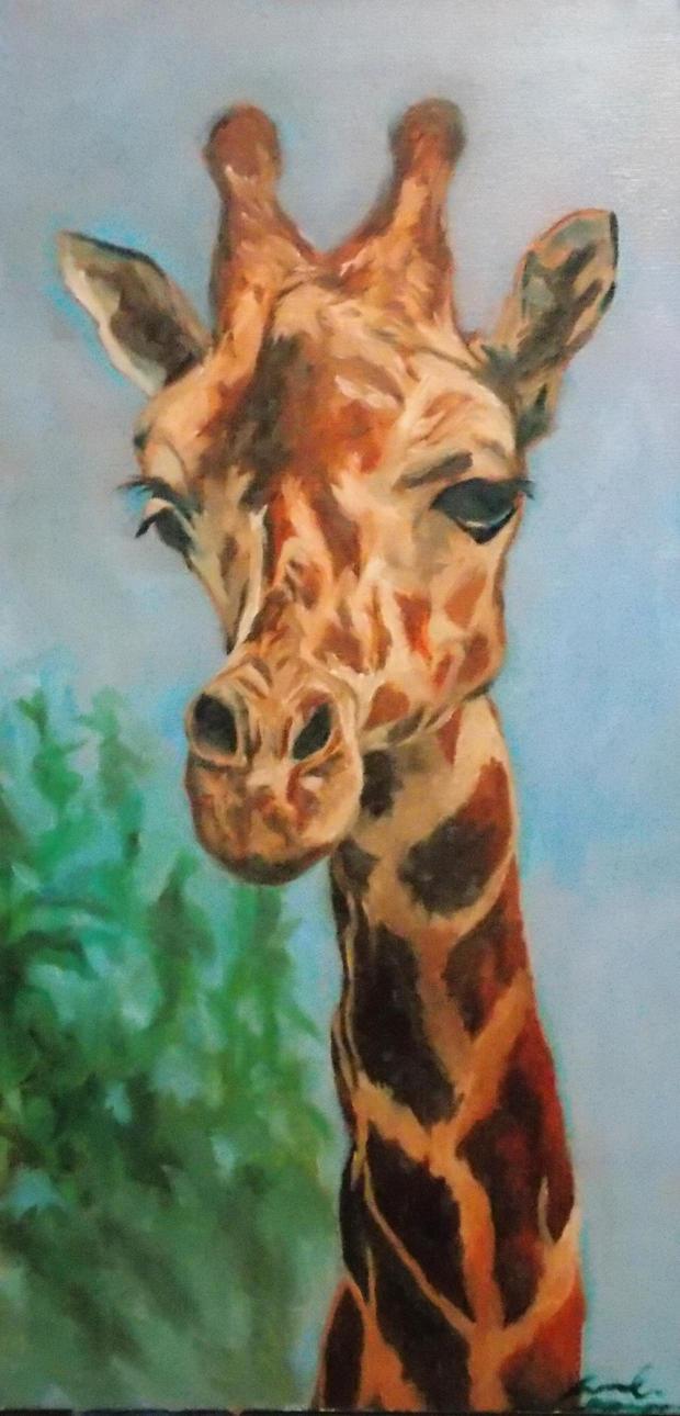giraffe oil on canvas by Jarredsart