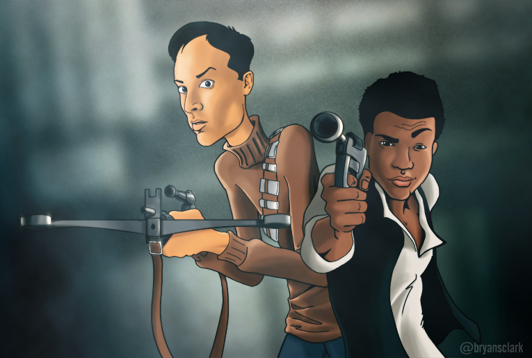 Troy and Abed, Han and Chewie by bryansclark