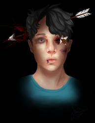 Goretober 19/20 - Beat up/Arrows + Self Portait by JDGaming2001