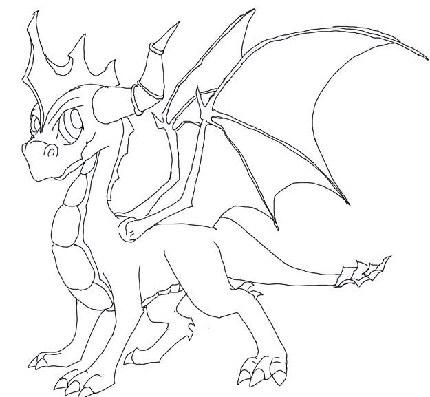 Simple Dragon Line Art : Spyro line drawing by dragonwolf on deviantart