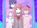 Your friends smile warmly behind you(DDLC x OMORI)
