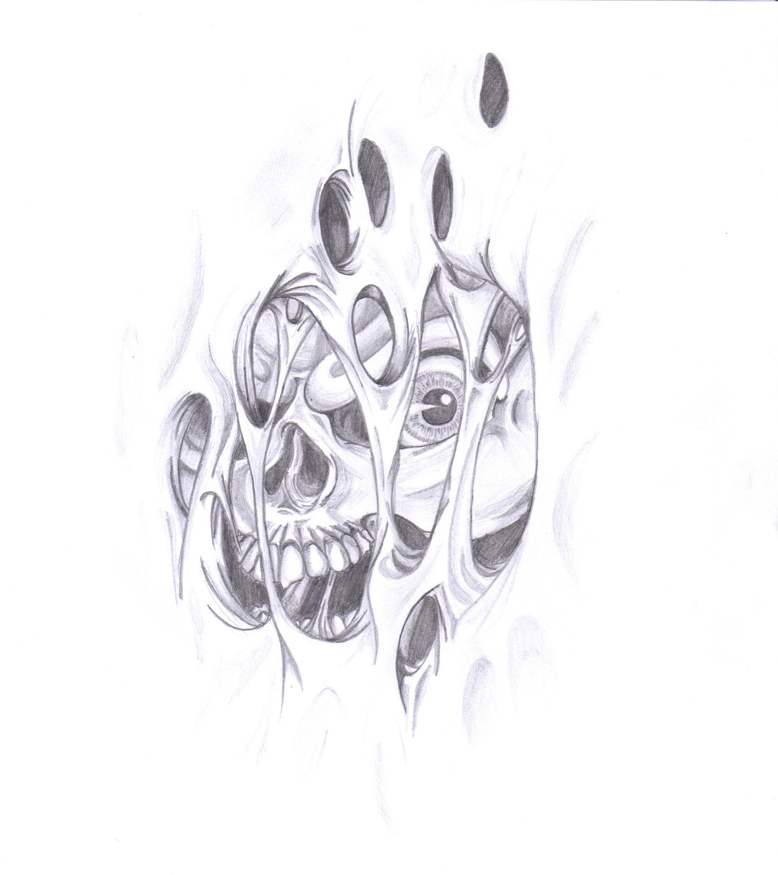 Ripped skin skull by have a nice trip on deviantart for Torn skin skull tattoo