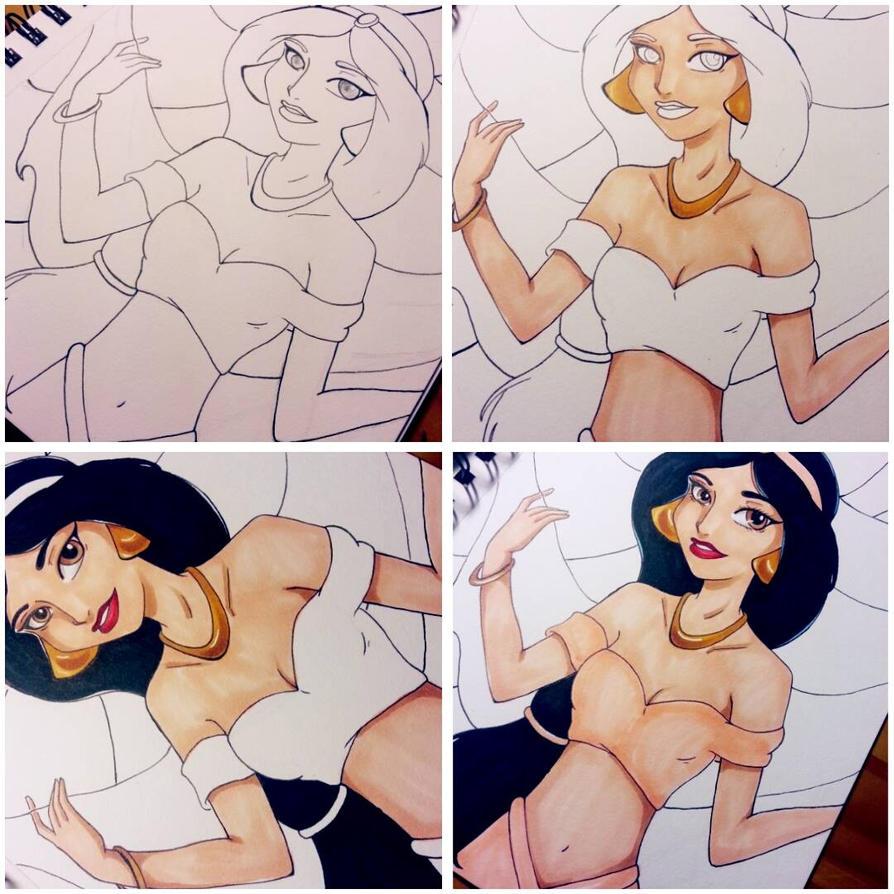 Wip Princess Jasmine by La-Artista21