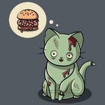 Zombie Cat Can Has Brain Burger? Shirt Design