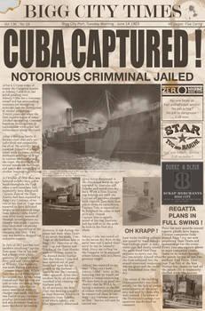 Tugs mock newspaper from Captian Zeros office.