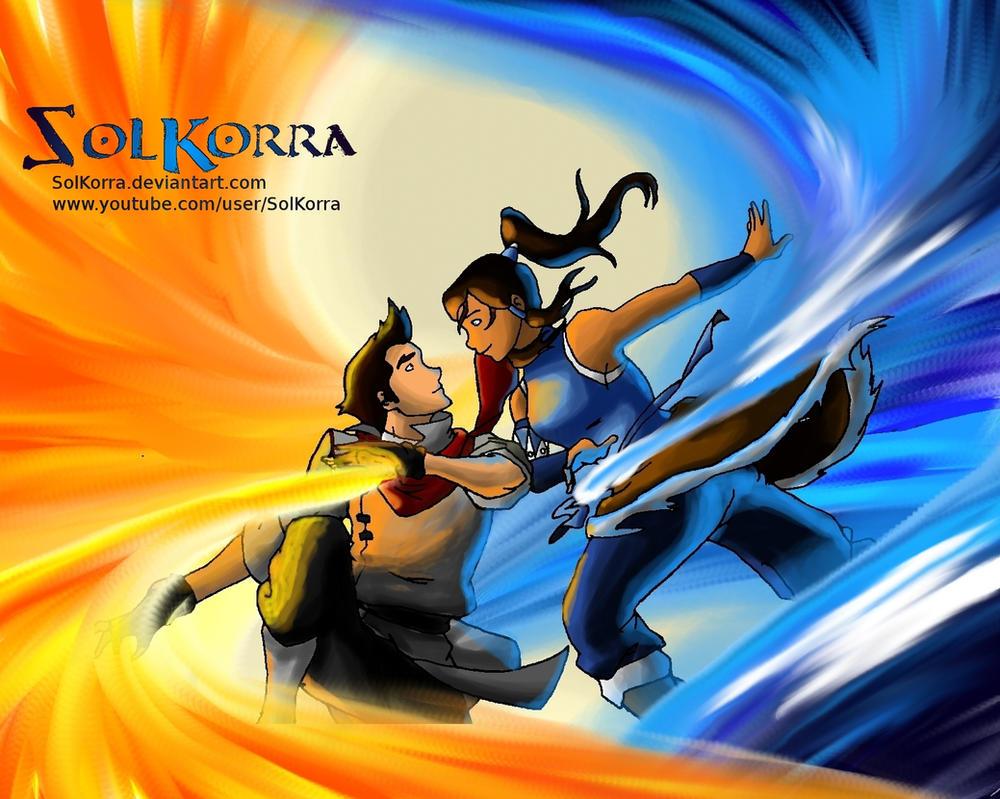 Korra and Mako Bending Love by SolKorra