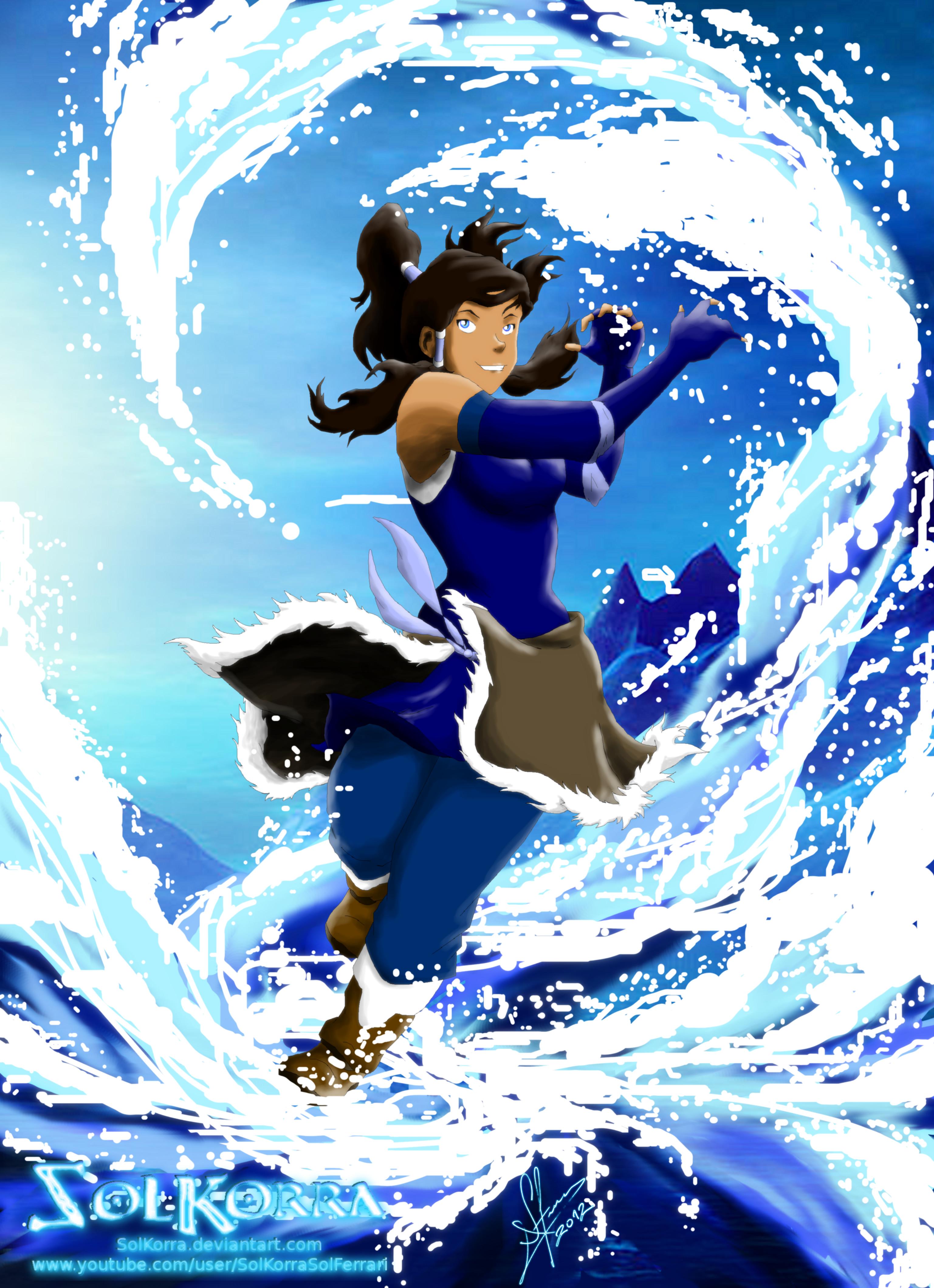 Korra: Waterbending in The Sea by SolKorra