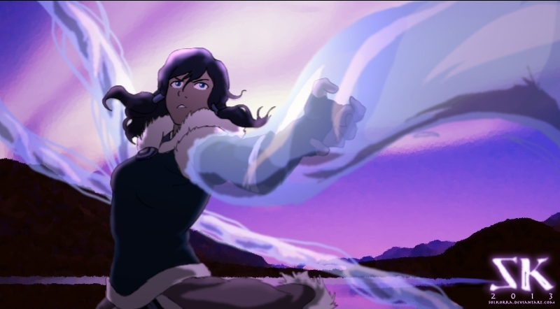 Korra WaterBending Over The Northern Lights by SolKorra