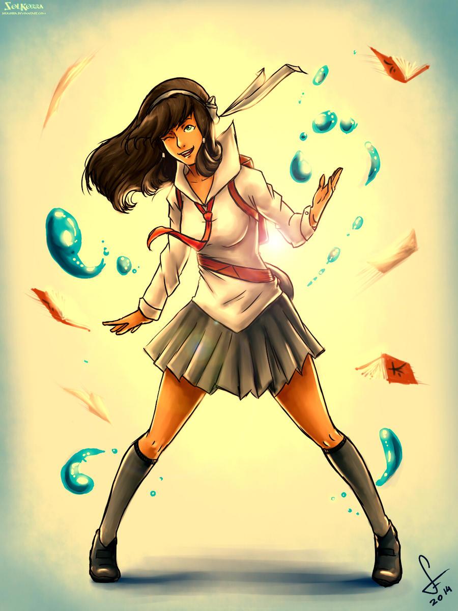 School Girl Korra by SolKorra