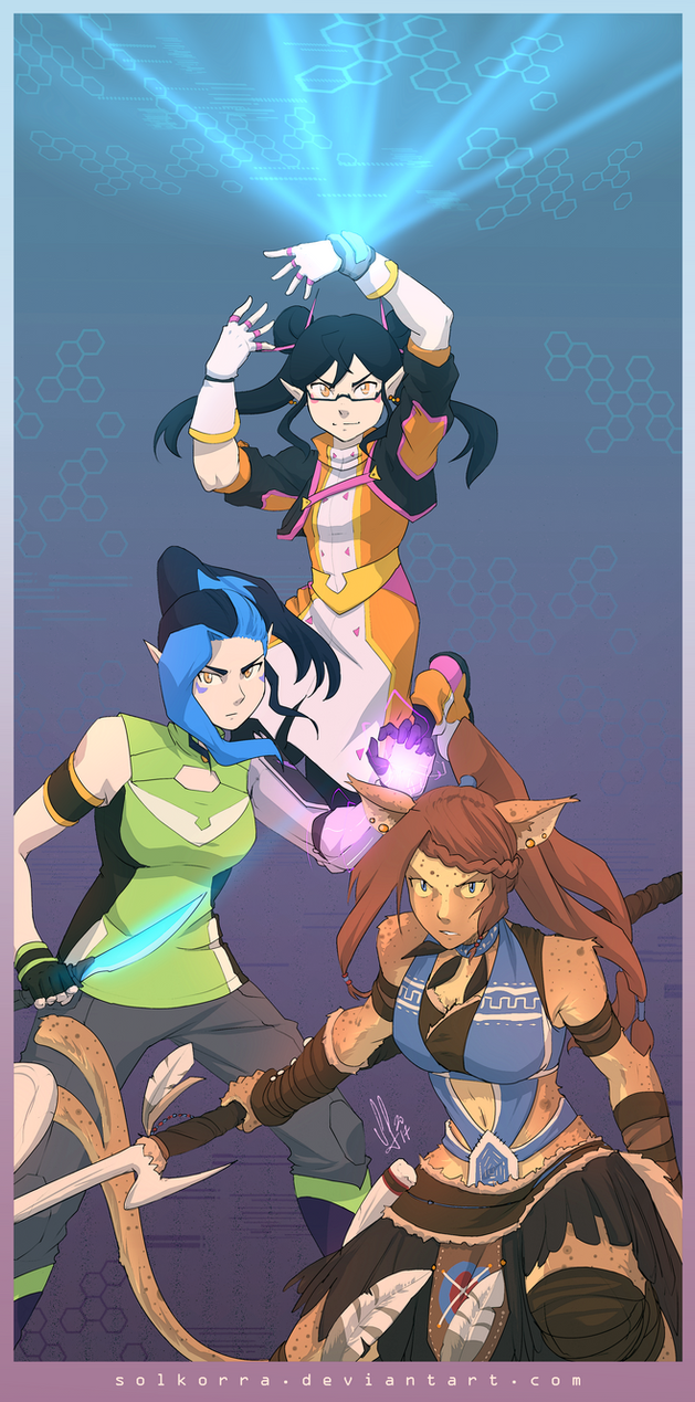 Commission: L'ynnx, Alexis and Farren by SolKorra