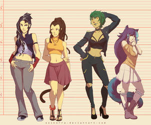 Commission: Girl Team by SolKorra