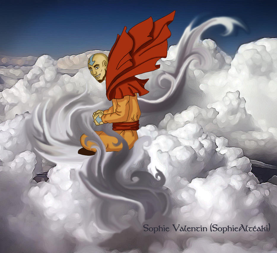 Aang in clouds by SophieAlteaki