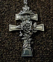 pewter cross necklace stock by Gothicmamas-stock