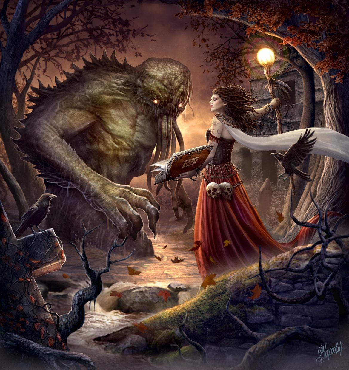 Galeria de Arte: Ficção & Fantasia 1 - Página 5 Witch_and_monster_by_dusanmarkovic-d7hcmdc
