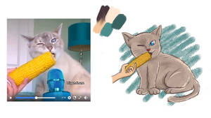 Referenced Cat eating corn
