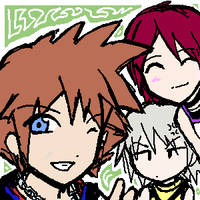 Kingdom Hearts Trio by shamisen