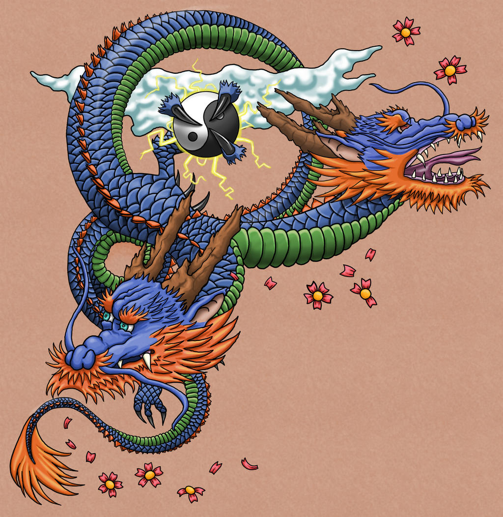 Two headed japanese dragon tattoo for Japanese dragon painting